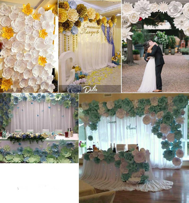 Diy Paper Flowers Backdrop Decorative Kids Diy Toy Artificial Flowers Wedding Favors Decor Set Birthday Party Home Decoration