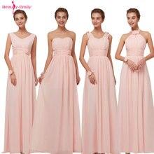 뷰티 에밀리 2020 들러리 드레스 시폰 롱 핑크 a 라인 민소매 웨딩 파티 댄스 파티 드레스 핫 세일