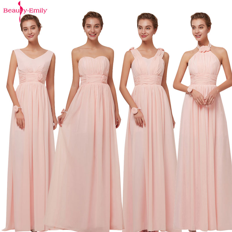 Beauty Emily 2019   Bridesmaid     Dresses   Chiffon Long Pink A-Line Sleeveless Wedding Party Prom Girl   Dresses   Hot Sale