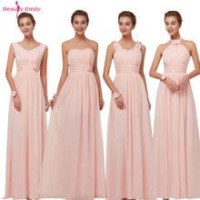 Beauty Emily 2019 Bridesmaid Dresses Chiffon Long Pink A-Line Sleeveless Wedding Party Prom Girl Dresses Hot Sale