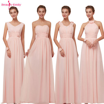 Beauty Emily 2020 Bridesmaid Dresses Chiffon Long Pink A-Line Sleeveless Wedding Party Prom Girl Hot Sale - discount item  20% OFF Wedding Party Dress