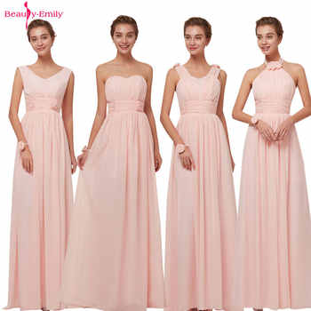 Beauty Emily 2020 Bridesmaid Dresses Chiffon Long Pink A-Line Sleeveless Wedding Party Prom Girl Dresses Hot Sale - DISCOUNT ITEM  20 OFF Weddings & Events