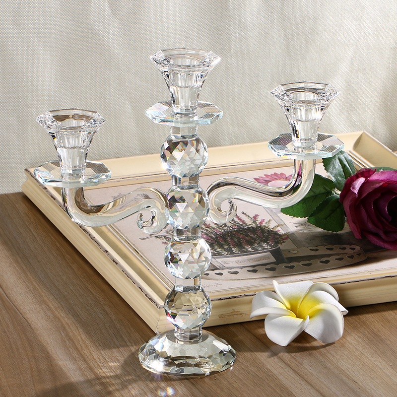 H d inch clear crystal candlestick candle holders