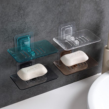 Hot Sale Strong Suction Bathroom Soap Dish Holder Shower Practical Draining Box Storage Case Container Free Shipping