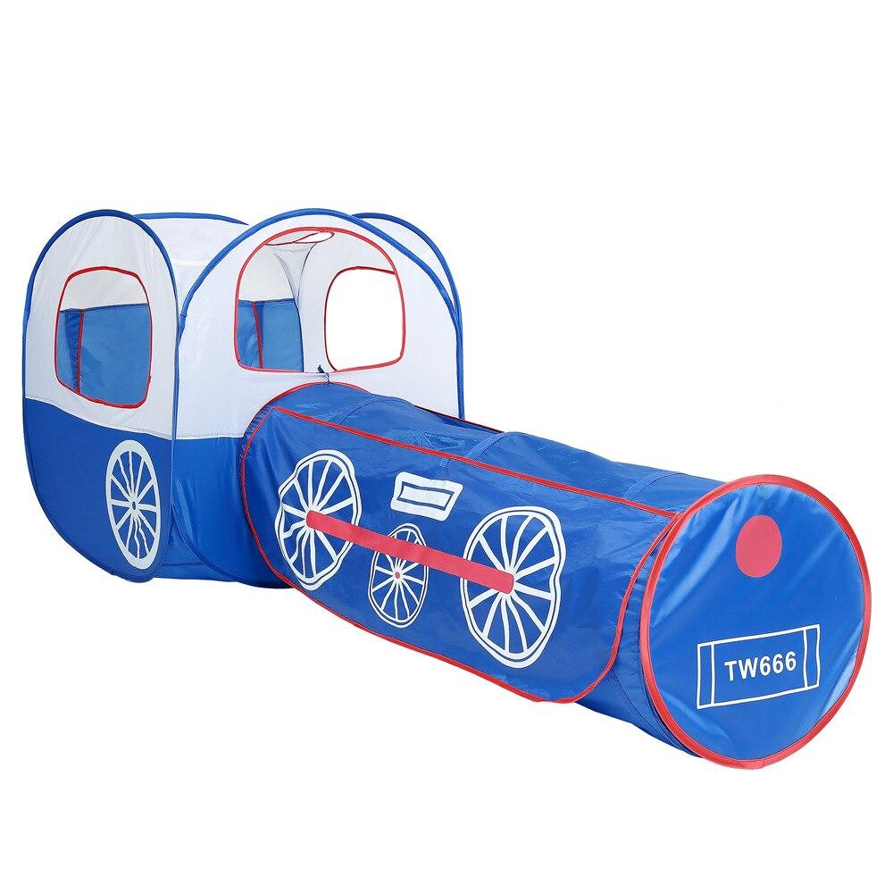 Jouer tente Tunnel jouet dessin animé bleu Train Locomotive intérieure extérieure balle piscine Playhouse amovible jouets cadeaux pour enfants enfants