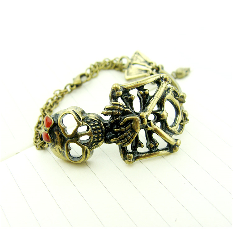 Special store vintage skull skeleton bronze hollow bracelet jewelry punk style