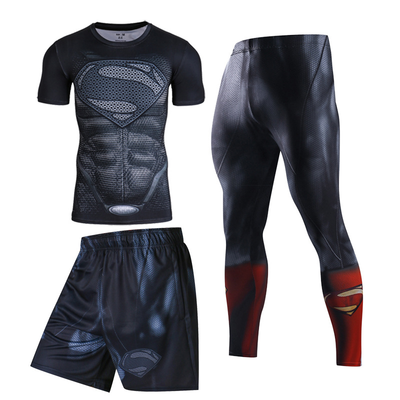 Men Fitness Wear Tights Short Sleeve Sportswear Basketball Training Quick Drying Three Running Sets Clothes Gym Compression Sets