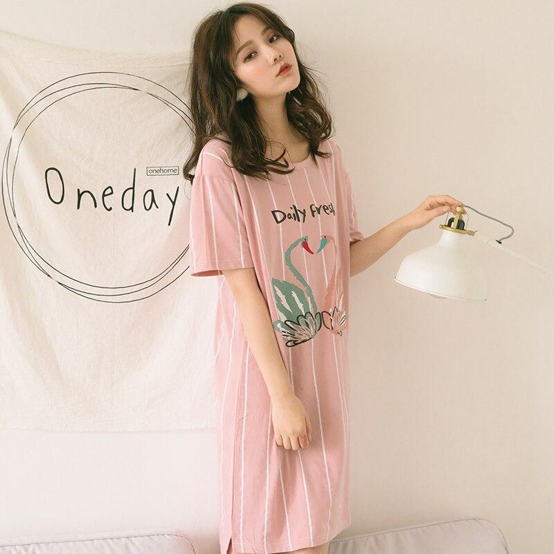 High quality 2018 Nightdress Women Sleepwear Home Dress for Women Sleepdress loose casual Nightgown Summer Clothing Girl Gift