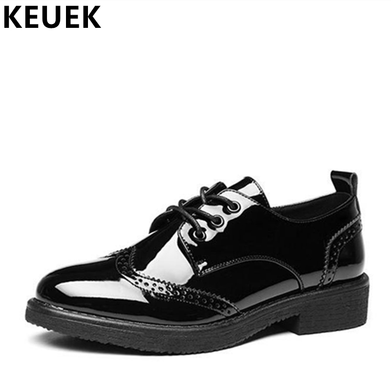 Women Casual Leather shoes Lace-Up Pointed Toe Oxfords Brogue Shoes Concise Black Loafers Fashion Ladies Flats 02C women ladies flats vintage pu leather loafers pointed toe silver metal design