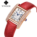 WWOOR 2016 New Fashion Watch Women Leather Bracelet Quartz Watches Rose Gold Rectangle Case Clock With Blue Pointer For Ladies