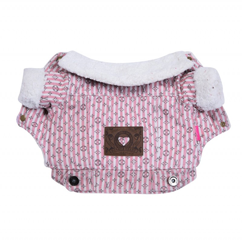 2018 New Cowboy Dog Clothes For Small Dogs Jacket Pink Costume Thickening Pet Dog Coat Win