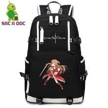 00e6fd2838e6a Anime Kılıç Sanat Çevrimiçi Asuna Sırt Çantası Kadın Erkek keten sırt  çantası Günlük Sırt Çantası Seyahat