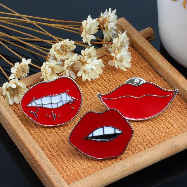 3 Pcs/set Hot Sale Fashion Cute Sexy Red Lips Enamel Pin Brooch Creative Cartoon