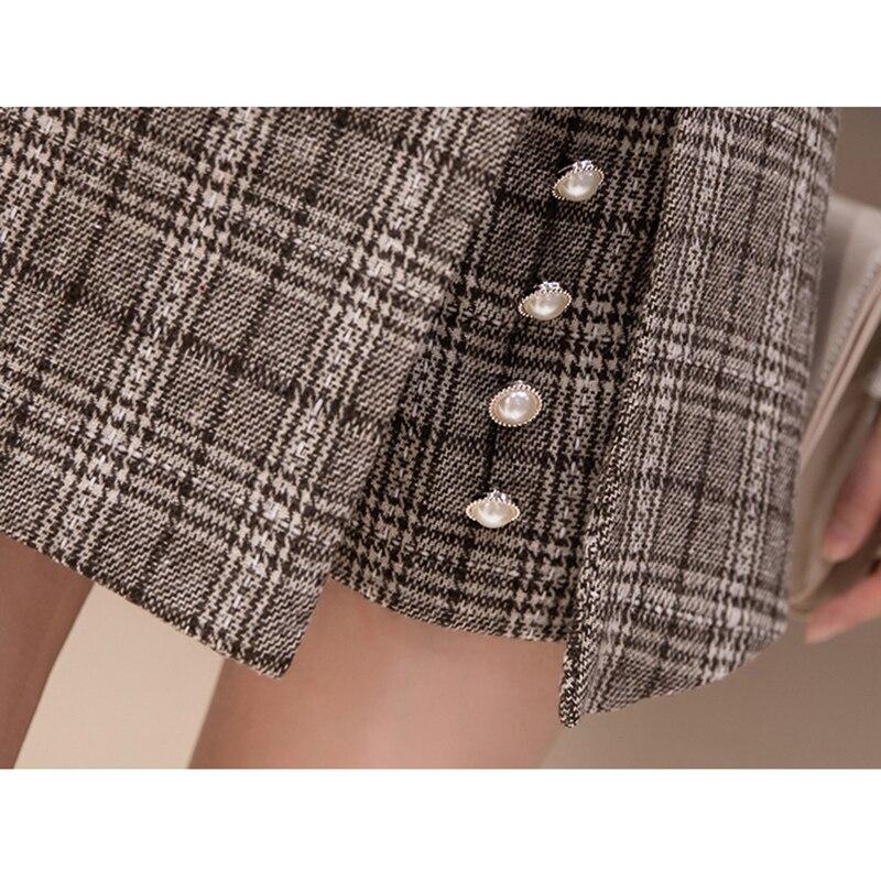 a945e2636a7 2019 winter Woolen shorts women high waist Button plaid skirt shorts  harajuku irregular ladies shorts plus size short mujer-in Shorts from  Women s Clothing ...