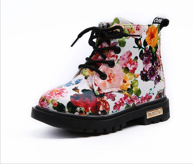 Kids Boots Girls Autumn Children's Fashion Patent New Student Size21--30 Peony Casual