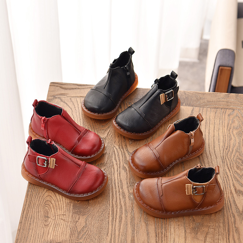 New Children Retro Boots Plus Velvet Girls Boys Waterproof Martin Boots Princess Cotton Shoes Quality Leather Fashion Buckle