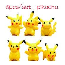 1Set/6Pcs Pokemon Mini Pikachu Puppets Action Figures Toy Collections Japanese Anime Pokemon Pikachu Puppets