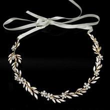 fashion handmade crystal leaves hair lead pack explosion head wear headband brides