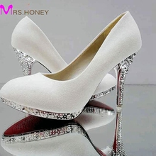 2016 New Fashion Female Wedding Shoes Adult Ceremony High Heel Shoes Glitter Bridesmaid Shoes White Silver Red Gold Yellow Red