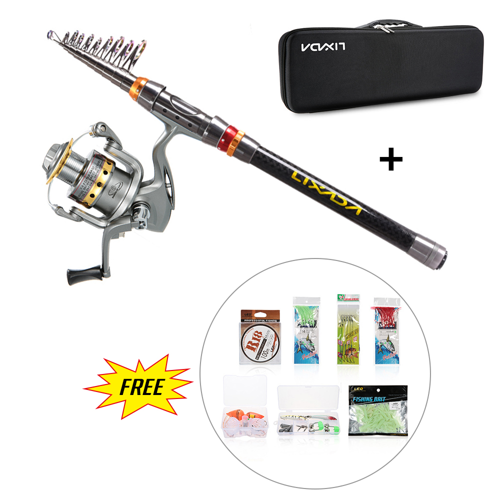 Lixada Telescopic Fishing Rod Reel Combo Full Kit Spinning Fishing Reel Rod 100M Fishing Line Lures