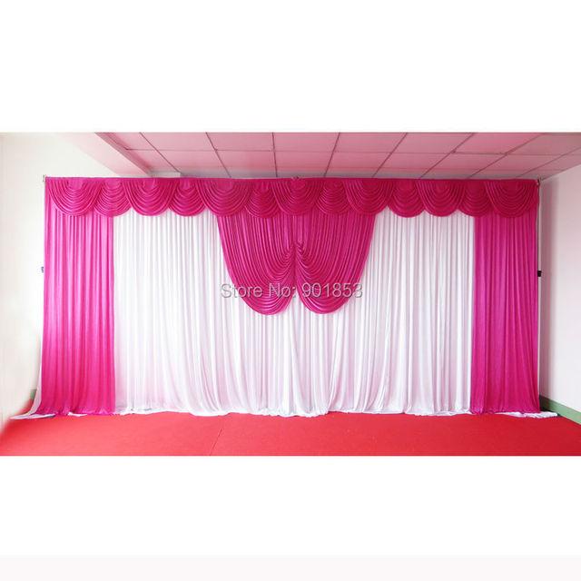 3m6m White Ice Silk Backdrop Curtain With Fuschia Swag