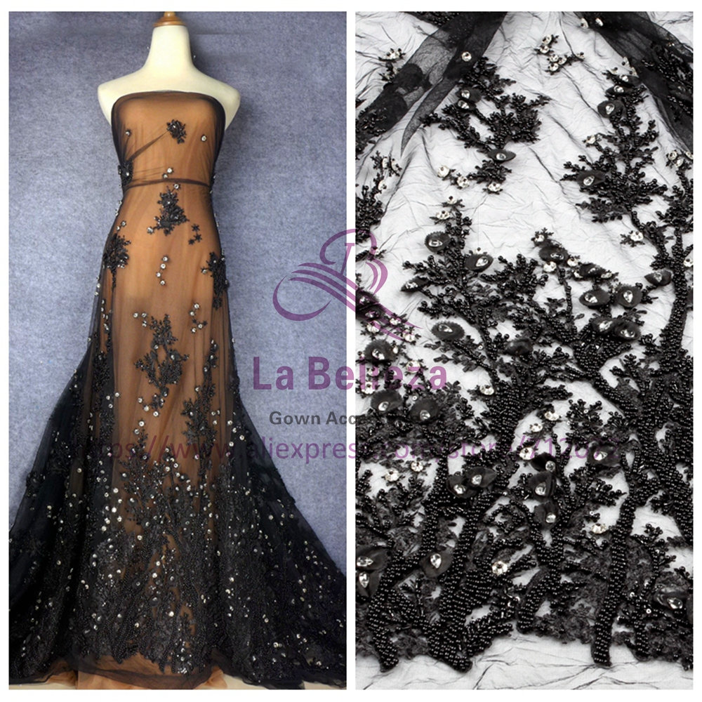 La Belleza handmade beading crystl Black ivory pink off white 3D flowers evening ddress lace fabric