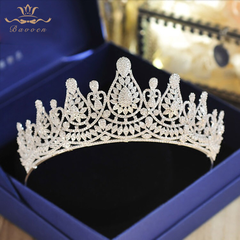 Top Quality Brides Stunning European Zircon Tiaras Crowns Silver Crystal Hairbands Wedding Hair Accessories цена