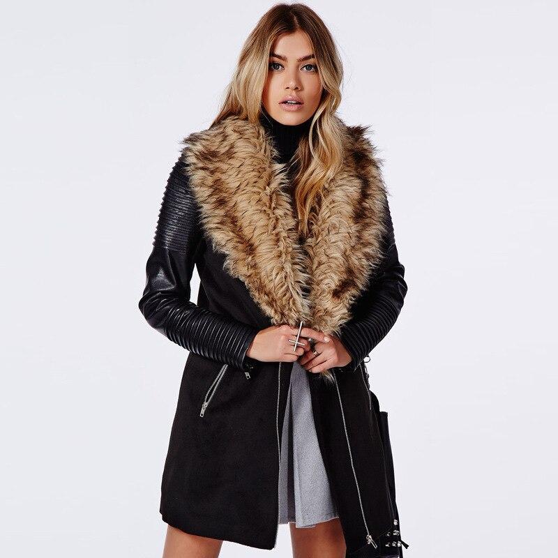 le dernier c9f81 4a472 € 56.21 |Luxe fausse fourrure grande revers hiver femme PU cuir à manches  longues trench patchwork noir manteau manteaux de laine chaude , plus la ...