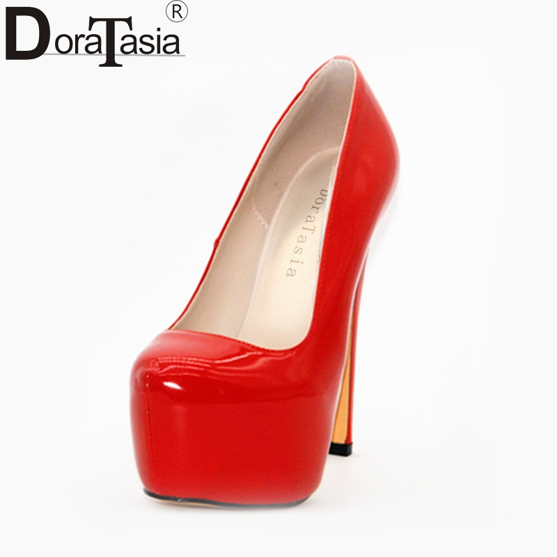 DoraTasia 2018 Brand shoes women New Large Size 34-43 red pumps Thin High Heel Fashion Office Lady party woman Shoes