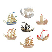 Chanycore Baby Learning Educational Wooden Toys 3D Puzzle Ancient Warships Sailboat Pirate Ship Treasure Boat Kids