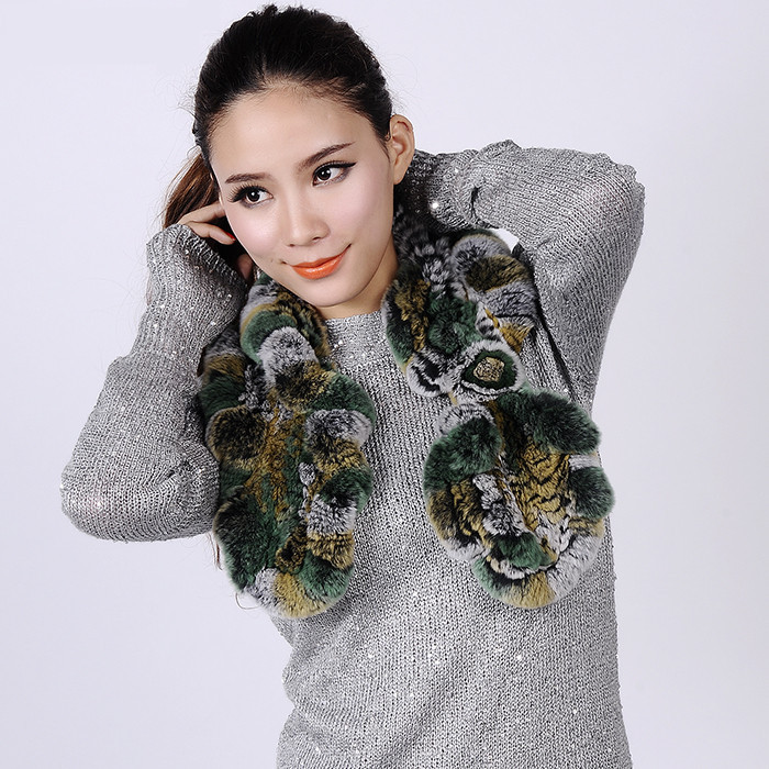 fashion falbala winter women fur scarf Autumn  winter Neck warm rex  rabbit  scarf   Elegant woman   fur scarf