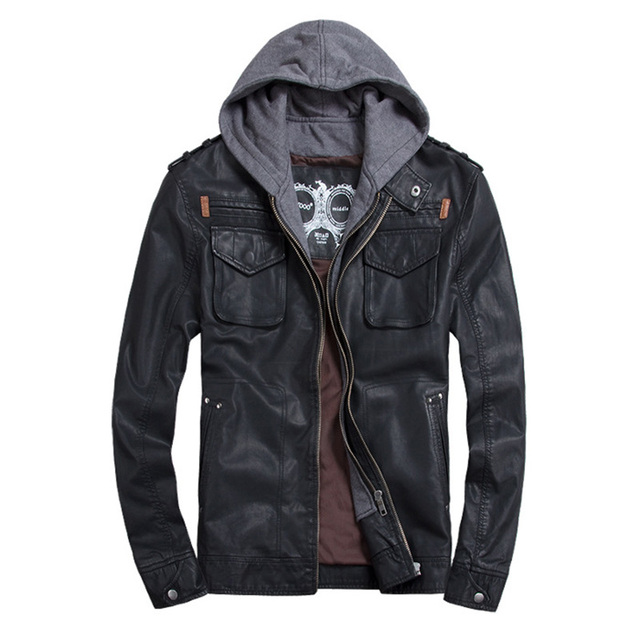 THOOO Brand Mens PU Leather Jackets Hoodie Jacket For Mens Good Quality Faux Leather Business Outwwaer Drop Ship