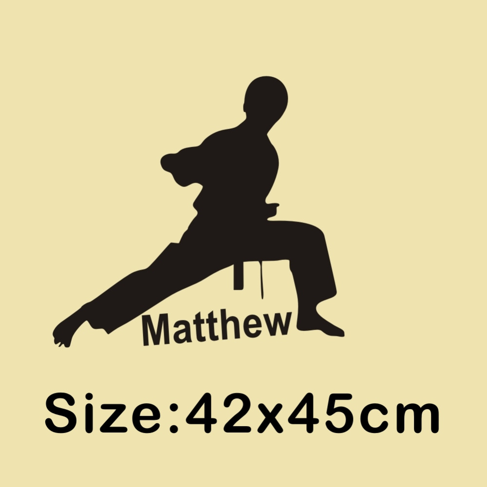 Personalised Boys Name Vinyl Wall Sticker Karate Martial Art Wall ...