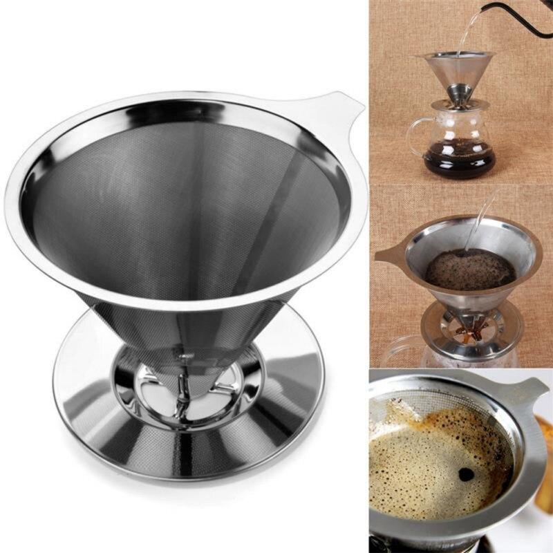 Filtre à café réutilisable 304 paniers de filtre à café en acier inoxydable cône filtre à maille verser sur le goutteur de café avec support de support