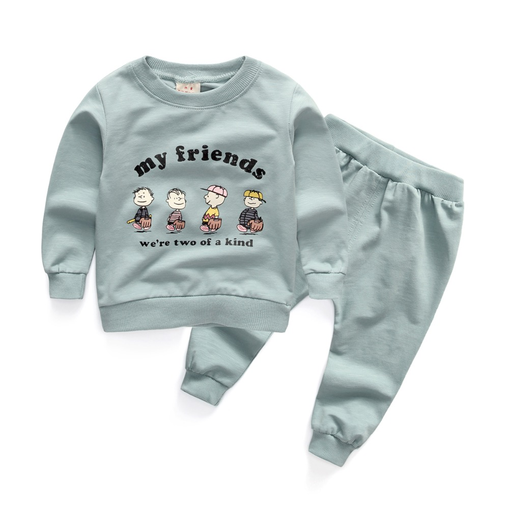 2016 New autumn boys girls clothing sets my friends letters printed tops + pants suit for 1-3 years baby boy and girl clothes
