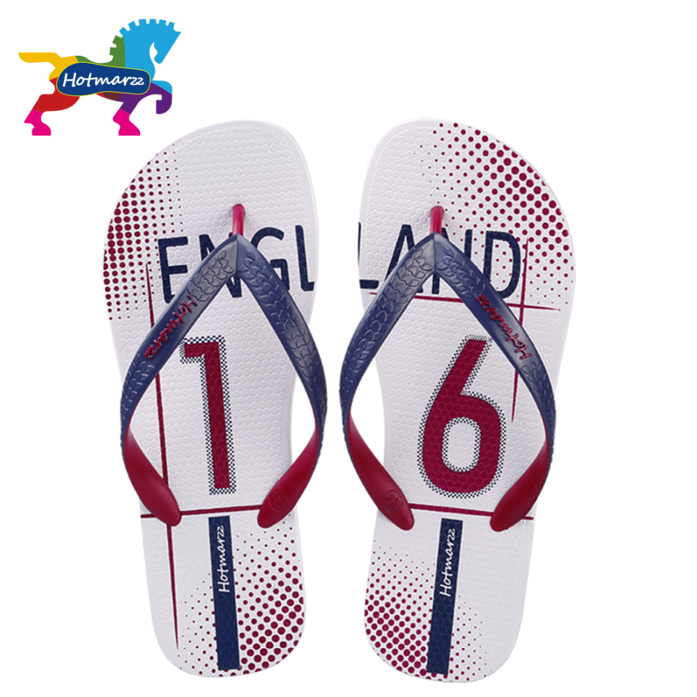 Hotmarzz Men Shoes Sandals Fashion Flip Flops USA England FC Barcelona Summer Slippers 2017 Beach Non-slip Pool Shower Slides