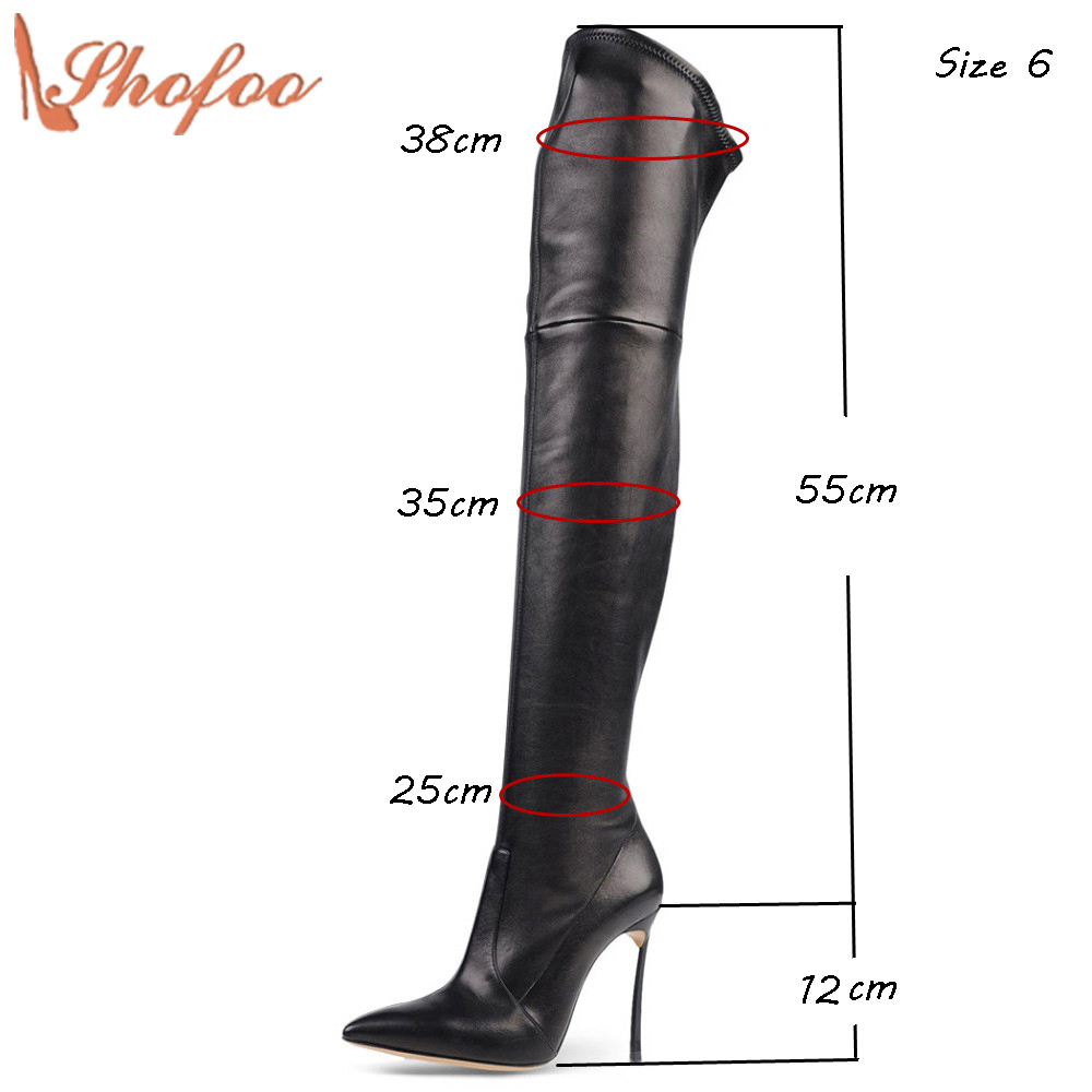 2017 Autumn Winter Beige Brown Black Suede Stiletto High Heels High Thigh Casual Boots Botasy Botines De Mujer Size 4-16 Shofoo free shipping sp lamp 012 compatible projector lamp with housing for infocus lp820 815 ask c410 c420 proxima dp8200x