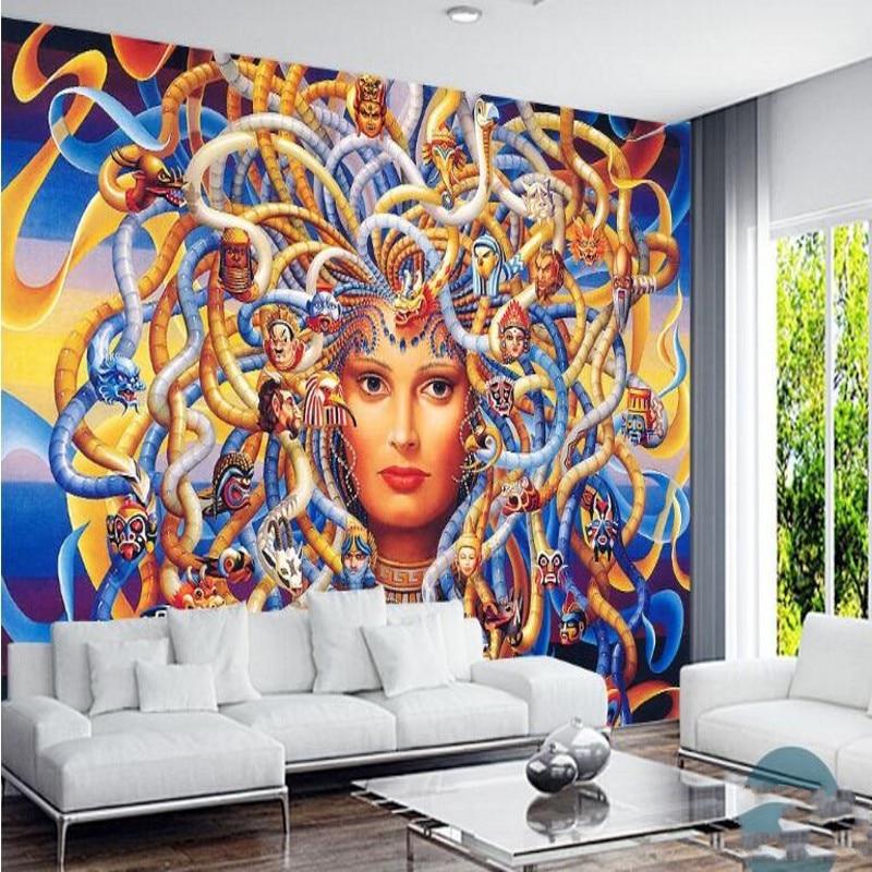 beibehang Custom large - scale murals Medusa banshee Greek mythology retro  European and American TV background wallpaper