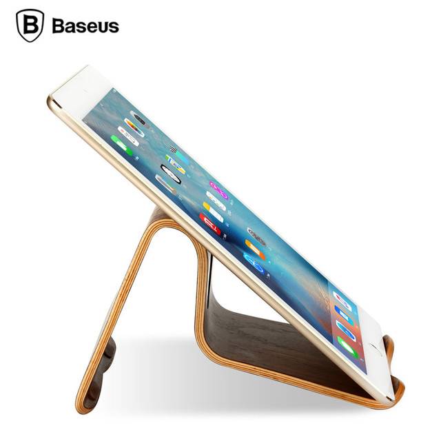 BASEUS Original Plain Natural Wooden Tablet PC Desktop Stand Holder Walnut Bracket Mount Pro for iPad Air 5 6 mini 2 3 4 Pads