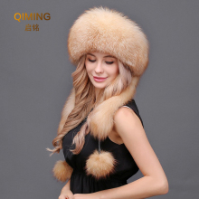 New Women Natural fur hat winter fox fur earmuffs Lei Feng hat