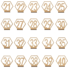 20x 21-40 Hexagon Table Number Wedding Wooden Sign Stand Reception Centerpiece