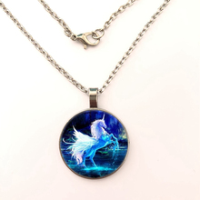 YSDLJG Unicorn Cabochon Pendant Necklace Magic Magical Horse Pegasus Women Fantasy Girl Chain for