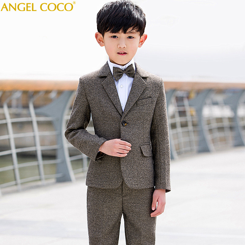 5pcs set Brown Boys Suits For Weddings Flower Boys Spring Children s Day Chorus Show Performance