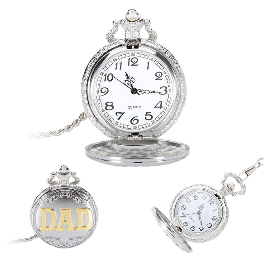 Birthday Gift Watch Vintage Dad Pocket Fob Watch Quartz Pocket Watch Pendent Chain Father's Gifts Clock For Father Men   LL@17 hot fashion jewelry the greatest dad retro necklace pocket watch vintage men s father birthday gift