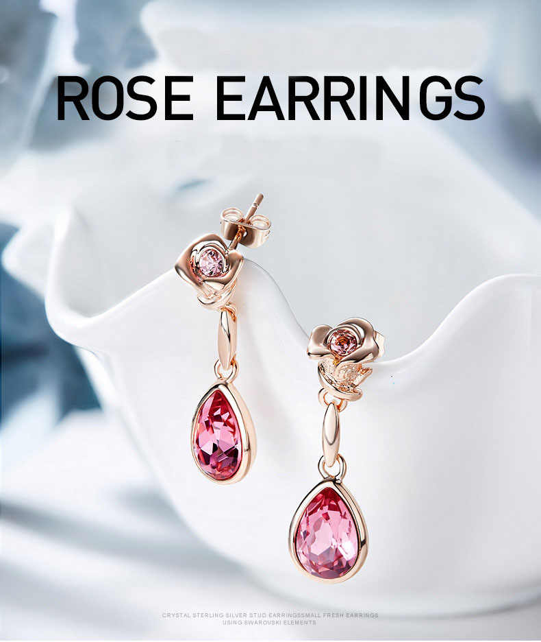 7c8576c495 Cdyle Crystals from Swarovski Dangle Earrings Women Earrings Luxury Rose  Gold Fashion Jewelry Austrian Rhinestone Pink Crystals