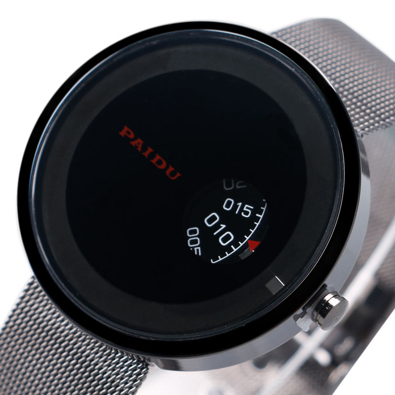 Fashion PAIDU Brand Black Creative Turntable Dispaly Quartz Watches with Mesh Stainless Steel Band Gift for Men Women relojes casual top brand paidu turntable dial net mesh steel band wristwatches fashion sports watches men women unisex gift dress clocks