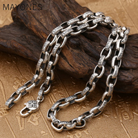8mm Width Buddha Necklace 100% Real 925 Sterling Thai silver Jewelry for Men Women Mantra Vajra Amulet Chain Necklace Pendant