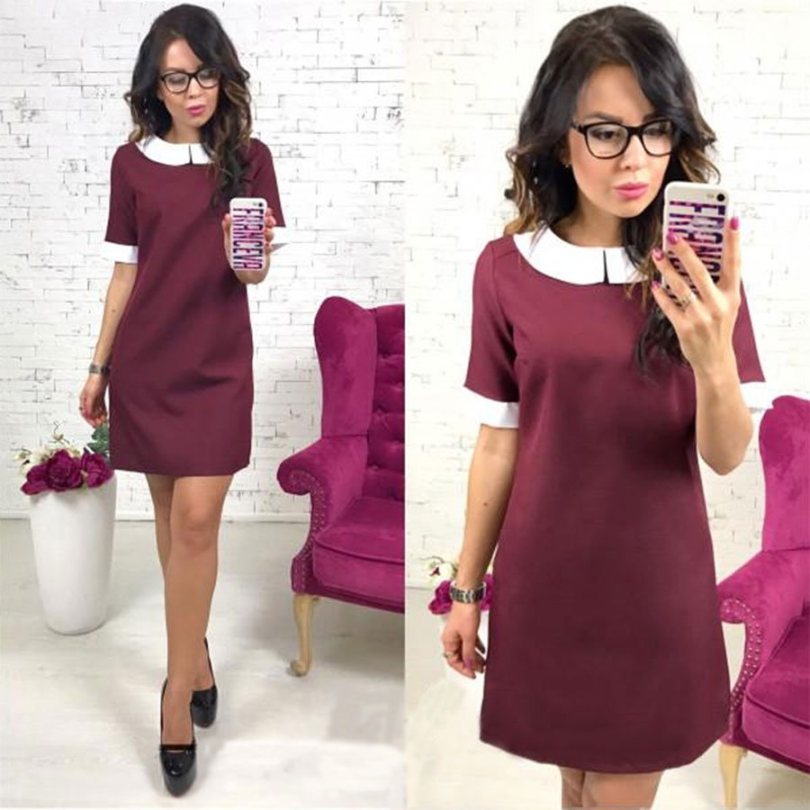 Short Sleeve Solid Peter Pan Collar Mini Dress Women Straight Above knee Dresses Summer Party Club