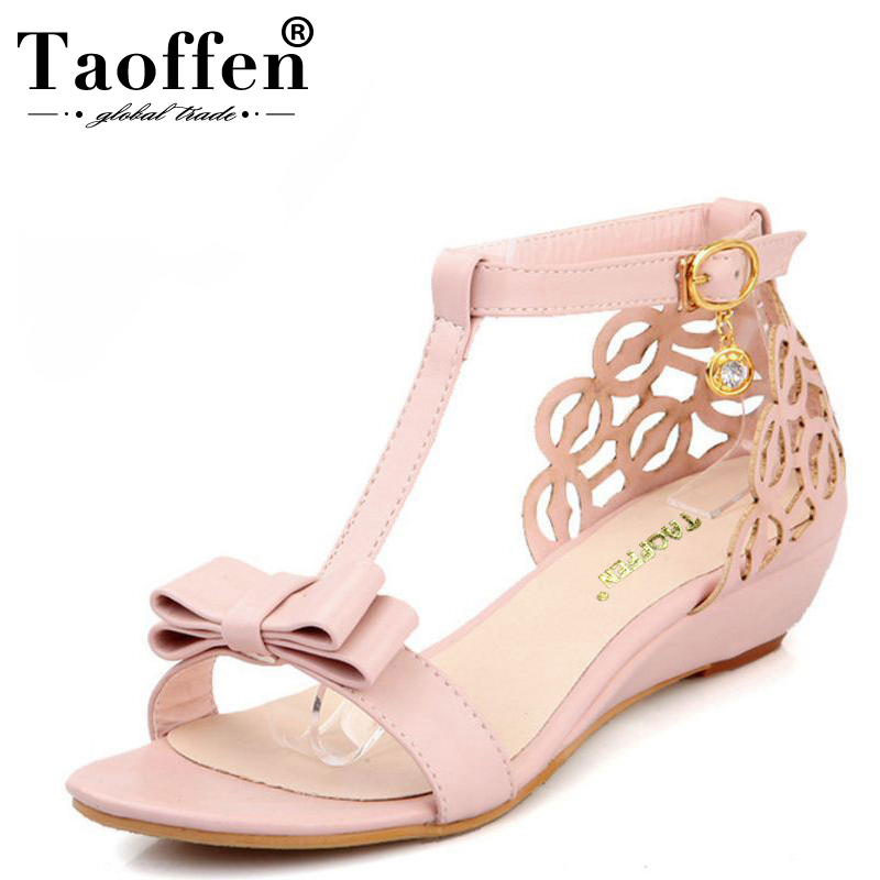 TAOFFEN Large size 33-43 New arrival High quality Rhinestone Fretwork Buckle Strap women Wedge sandals Sweet Summer shoes CuteTAOFFEN Large size 33-43 New arrival High quality Rhinestone Fretwork Buckle Strap women Wedge sandals Sweet Summer shoes Cute