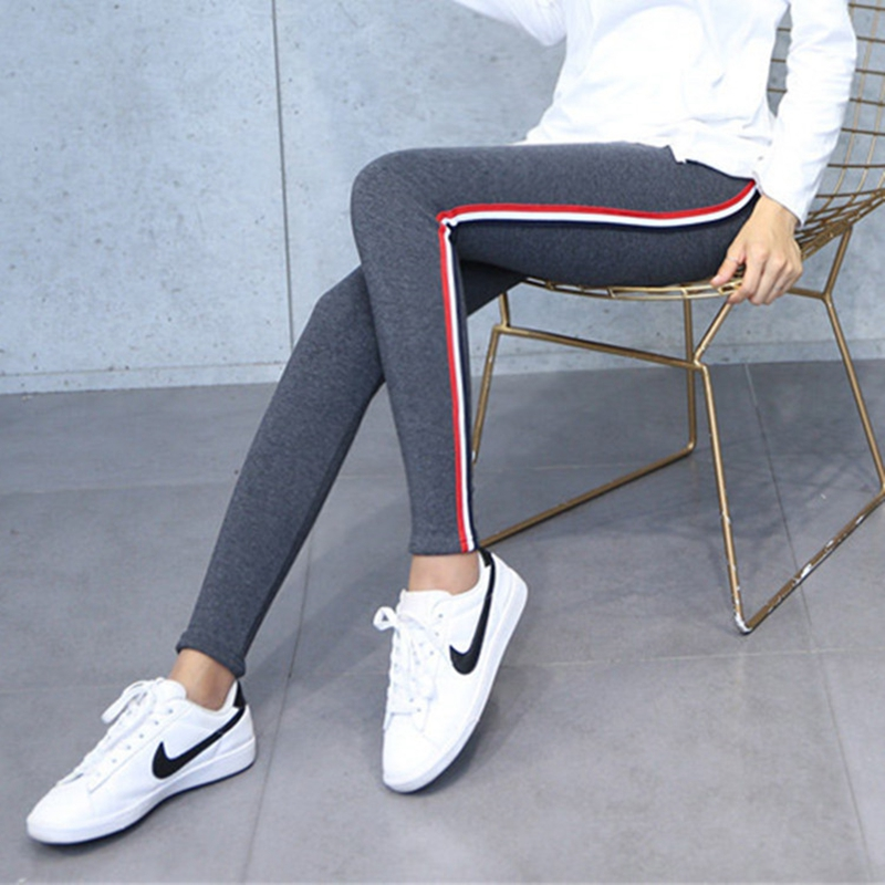 Plus Size 3XL 4XL 5XL Fitness Leggings Lady Quality Blended Cotton Pants Women Casual Striped Legging Stretched Spliced Pant